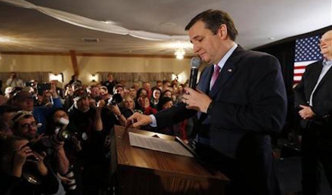 Republican presidential candidate Sen. Ted Cruz, R-Texas, speaks to supporters on primary election night, Tuesday, Feb. 9, 2016, in Hollis, N.H. (AP Photo/Robert F. Bukaty)