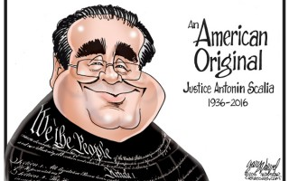 "Supreme Court Justice Antonin Scalia has died. I wrapped him in the Constitution because he said he loved it. He called himself an Originalist and criticized people who believed in a ""living Constitution. Scalia once said, ""The Constitution is not a living organism; it is a legal document. It says something and doesn't say other things."""