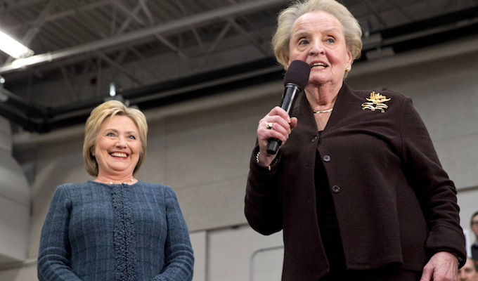 "Former Secretary of State Madeleine Albright introduces Democratic presidential candidate Hillary Clinton at a campaign event at Rundlett Middle School, in Concord, N.H., Saturday, Feb. 6, 2016. 'There's a special place in hell for women who don't help each other,"" Albright said. (AP Photo/Jacquelyn Martin)"