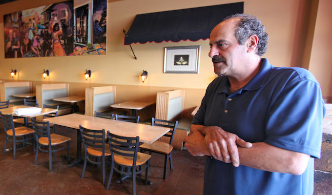 Nazareth restaurant owner Hany Baransi describes the machete attack in his Columbus restaurant Thursday night, February 11, 2016. Baransi said he is a Christian Arab from Israel, believing that the attack might have been motivated by religious differences. Four people were injured in the attack, one requiring surgery. The assailant left the restaurant, but was later found and killed by police after he began to attack them.  (Columbus Dispatch photo by Doral Chenoweth III)