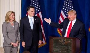 Mitt Romney accepting Trump's endorsement in 2012.