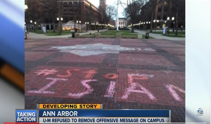 Controversy over chalk messages spreads to Michigan University