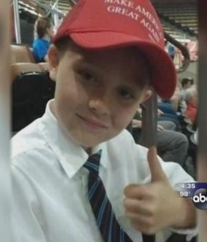 Boy, age 9, stands up for his right to wear a Trump hat