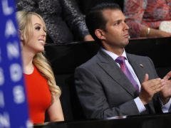 Donald Trump, Jr., and Tiffany Trump, children of Republican Presidential Candidate Donald J. Trump, attend the final day of the Republican National Convention in Cleveland, Thursday, July 21, 2016. (AP Photo/Paul Sancya)