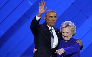 President Barack Obama and Democratic presidential nominee Hillary Clinton wave to delegates after she joined President Obama on stage during the third day of the Democratic National Convention in Philadelphia , Wednesday, July 27, 2016. (AP Photo/J. Scott Applewhite)