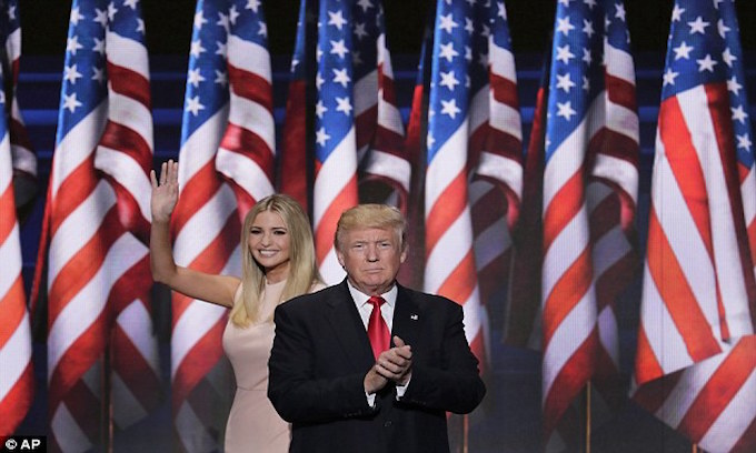Ivanka and Donald Trump on stage at the RNC.