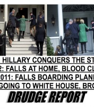 Drudge posts photo of Hillary unable to ascend stairs on her own; media goes into denial
