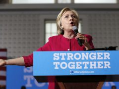In this Aug. 16, 2016 file photo, Democratic presidential candidate Hillary Clinton speaks in Philadelphia. More than half the people outside the government who met with Hillary Clinton while she was secretary of state gave money, either personally or through companies or groups, to the Clinton Foundation. It's an extraordinary proportion indicating her ethics challenges if elected president. (AP Photo/Carolyn Kaster, File)