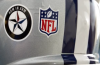 Small decal to honor slain Dallas police officers that was refused by the NFL.