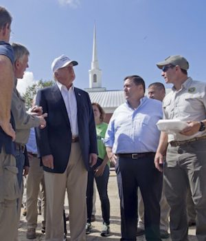 No Obama, no Hillary but Trump is in Louisiana to survey flood damage