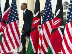 """FILE - In this July 25, 2015 file photo, President Barack Obama and Kenyan President Uhuru Kenyatta arrive for a news conference at State House in Nairobi, Kenya, where President Obama nudged African nations to treat gays and lesbians equally under the law, a position that remains unpopular through much of the continent. The U.S. has deployed its diplomats and tens of millions of dollars to try to block anti-gay laws, punish countries that enacted them, and tie U.S. assistance to respect for LGBT rights, animated in part by former Secretary of State Hillary Clinton's declaration that """"gay rights are human rights."""" (AP Photo/Evan Vucci, File)"""