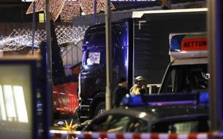 The truck that was driven through a Berlin Christmas market by terrorists.
