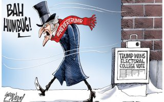"The electoral college made it official. Donald Trump has been elected the 45th President leaving the ""Never Trump,"" ""Not My President"" crowd feeling like Ebenezer Scrooge this Christmas."