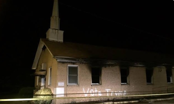Black man arrested in 'Vote Trump' burning of Mississippi church