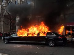 Limo burns during inauguration day riots.