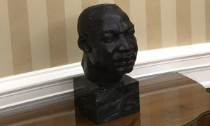 Martin Luther King bust on table in the Oval Office on first day of the Trump presidency.