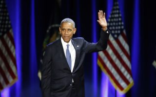 President Barack Obama waves as he arrives to give his presidential farewell address at McCormick Place in Chicago, Tuesday, Jan. 10, 2017. (AP Photo/Charles Rex Arbogast)