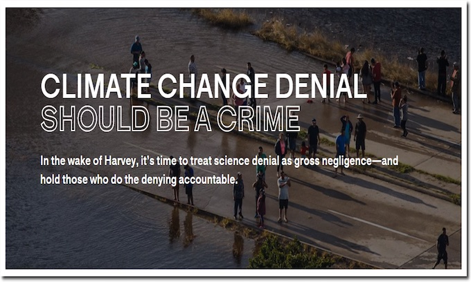 Activists want climate change skeptics charged with crime