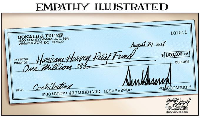 Trumps name recipients of personal $1 million Harvey donation