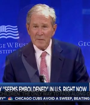 On same day as Obama, George Bush comes out to accuse