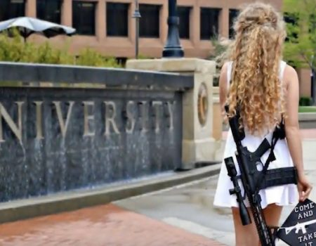 'Come and take it,' Kent State grad says while posing with AR-10 rifle