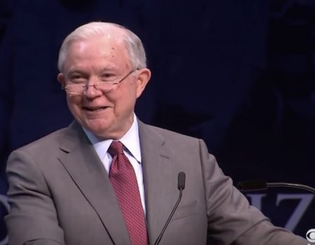Jeff Sessions repeats 'Lock her up' chant as he accuses colleges of creating snowflakes