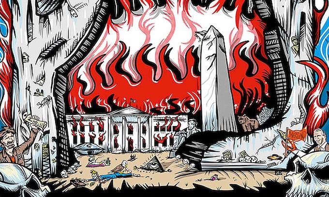 Pearl Jam releases poster depicting dead president and burning White House