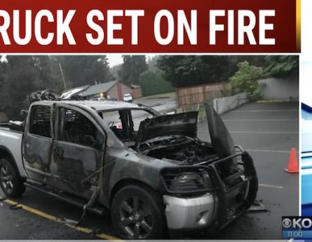 Truck with pro-Trump stickers set on fire in Vancouver