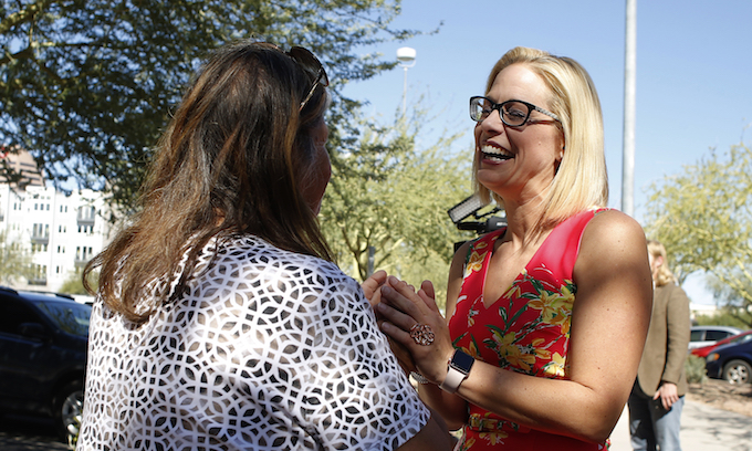 Democrat Sinema takes lead over McSally as ballots still being counted