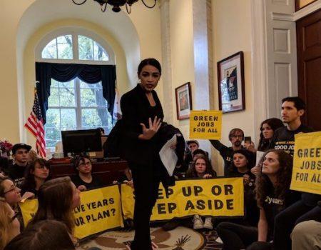 Alexandria Ocasio-Cortez joins environmental activists protesting Nancy Pelosi
