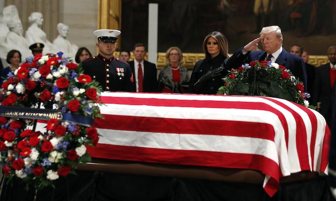 George H.W. Bush lies in state at U.S. Capitol