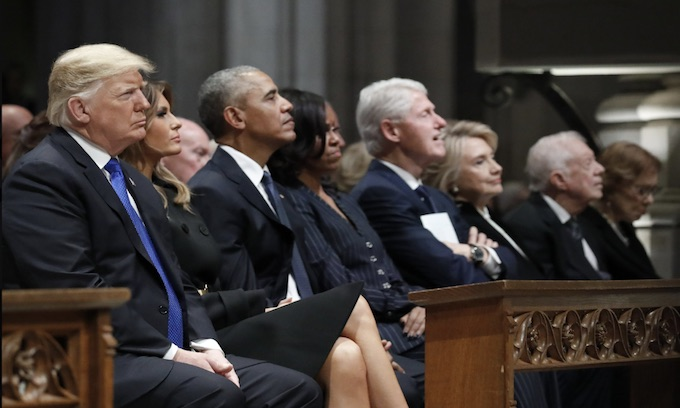 Four presidents in the 'awkward pew'