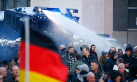 Germans hit with tear gas, water cannons for protesting Muslim refugee violence