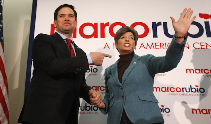 Earlier this week Joni Ernst rallied for her 'good friend' Marco Rubio