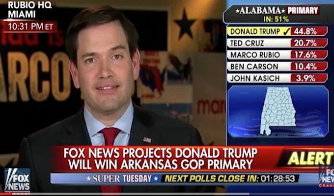 Rubio jumps gun with victory speech