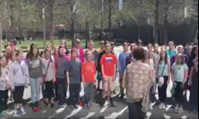 Guard stopped student choir from singing national anthem at 9/11 memorial