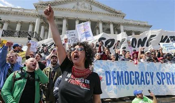 Hundreds of liberals arrested in 'Democracy Spring' protest