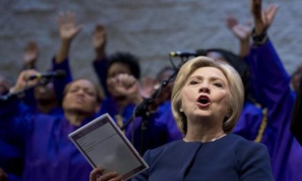 Hillary attempts to sell her personal faith as she campaigns in black churches