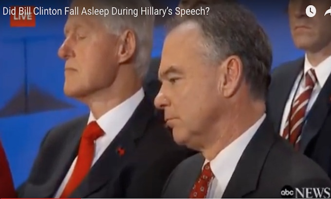 Hillary used Ronald Reagan's line in acceptance speech but Bill went to sleep anyway