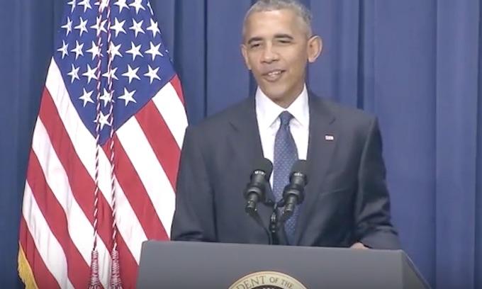 Grinning Obama jokes during statement on carnage in Munich