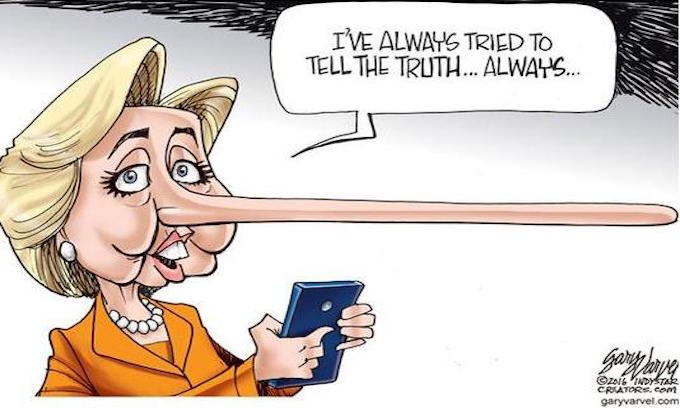 Hillary Clinton slapped with dreaded 'Four Pinocchios' rating for false claim that the FBI director said she told the truth about her classified emails