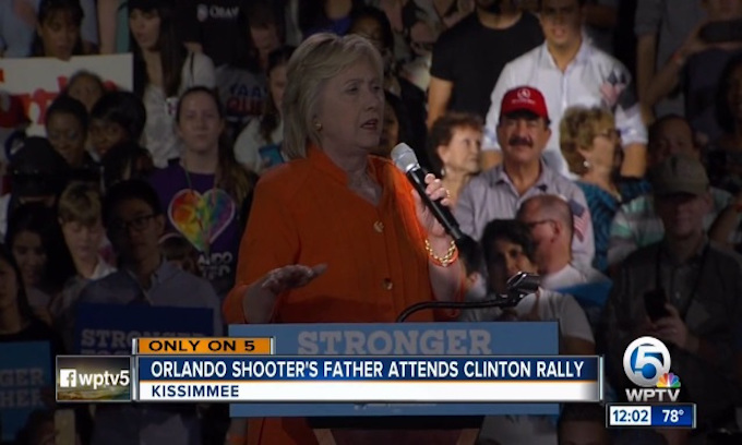 Father of Orlando nightclub shooter sits prominently behind Hillary at Florida rally