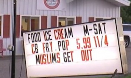 'Muslims Get Out' sign will stay, says business owner, despite vandalism