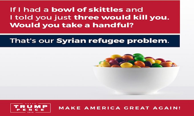 Trump Jr. calls for common sense refugee policy with Skittles analogy