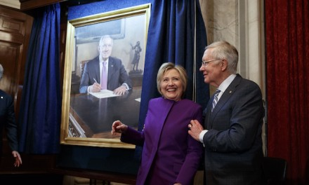 Hillary Surfaces to Decry 'Fake News' and Laud Harry Reid