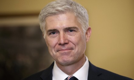 Gorsuch establishing his position on the right of the bench