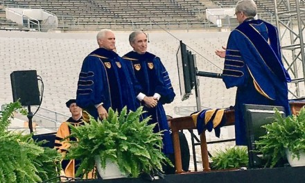 Pence tells Notre Dame grads to rely on 'integrity and values' as dozens of snowflakes walk out