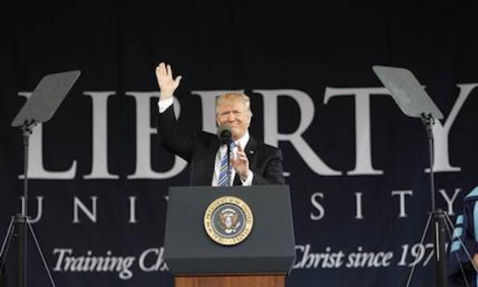 Trump to Liberty U grads: We worship God, not government