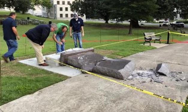 Man destroys new Ten Commandments monument in Arkansas