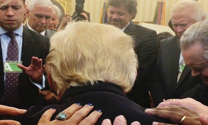 Prayer and the laying on of hands in the Oval Office